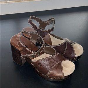 Mia Leather wood Heels